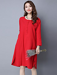 Sign 2017 spring new long section of cotton long-sleeved loose big yards dress retro