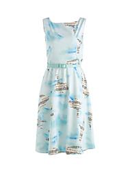 Women's Casual/Daily Vintage Loose Dress,Print U Neck Knee-length Sleeveless Blue Polyester Summer