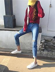 Signer korean side waist knee rivet burr hole jeans femme nett