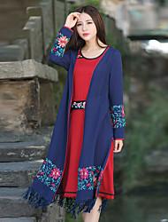 Sign original design women's national wind loose long-sleeved cardigan jacket Ms. autumn long section