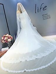 Véus de Noiva Uma Camada Véu Catedral Borda com aplicação de Renda Tule Renda