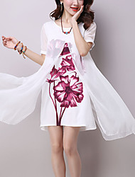 Women's Casual/Daily Street chic Chinoiserie Loose Dress Print Patchwork False Two Knee-length Short Sleeve Silk Summer