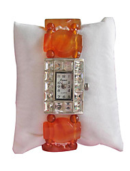 Damen Modeuhr Quartz Jäger grün Band Orange Rot orange