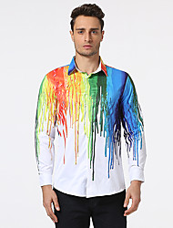Men's Casual/Daily Beach Holiday Punk & Gothic Shirt,Print Shirt Collar Long Sleeve Multi-color Cotton