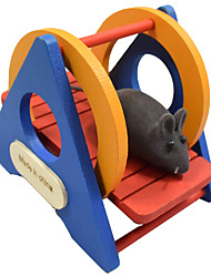 2017 new leisure hamster toy wooden swing seesaw color small pet cage with sports and entertainment too