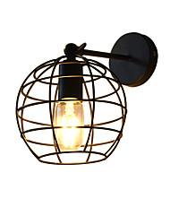 Ac220v-240v 4w e27 привело свет кирпичей полый круглый железный настенный светильник тупой черный американский украшение световой огонь на