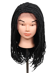 2017 hot sale lace frotal 3s box braids wig 16inch synthetic braiding wig dark brown black color 1pcs braids wigs kanekalon box braiding hair wigs