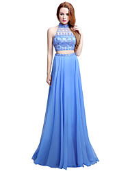 Sheath / Column Halter Sweep / Brush Train Chiffon Formal Evening Dress with Beading