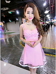Sign 2017 new perspective mesh flower harness dress