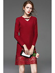 Women's Beach Sweater Dress,Solid Round Neck Midi Long Sleeve Nylon Spring Low Rise Micro-elastic Thin