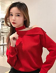 Women's Casual/Daily Simple Shirt,Solid Off Shoulder Long Sleeve Cotton