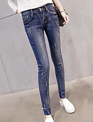 Spring 2017 Korean version of feet waist wear white paint printing Slim was thin stretch jeans female