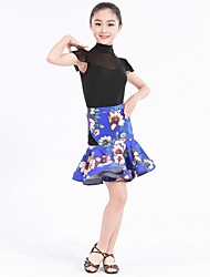 Latin Dance Outfits Women's Kid's Performance Spandex Polyester Lace Ruffles Buttons Pattern/Print Splicing 2 Pieces Short Sleeve Natural