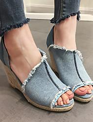 Feminino-Sandálias-Conforto-Salto Grosso-Azul-Jeans-Casual