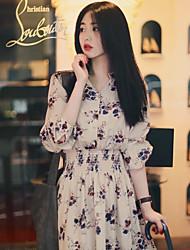 Корейский торговый 2017 весной сладкий темперамент печати упругой воротник однобортный платье короткой юбке