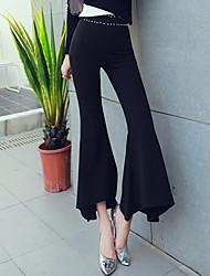 Feminino Moda de Rua Cintura Alta Elástico Chinos Calças,Bootcut Sólido,Taxas