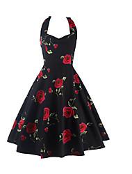 AliExpress explosion models retro 50S Hepburn style halter dress printing big skirt roses