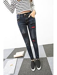 Sign 2017 new jeans pants Slim was thin pencil pants feet trousers lips collage