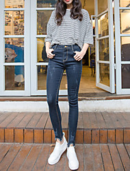 Sign scratches jeans female trousers tight stretch thin pencil pants Korean wave