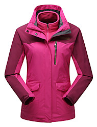 Women's 3-in-1 Jackets Waterproof Thermal / Warm Windproof Fleece Lining Dust Proof Breathable Double Sliders Woman's Jacket Winter