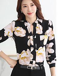 Women's Going out Simple Summer Fall Blouse,Print Shirt Collar Long Sleeve Polyester Medium
