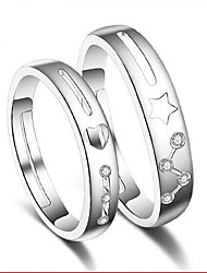 S925 Silver Star Couple Heart-Shaped Ring