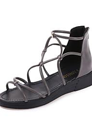 Damen-Sandalen-Lässig-PU-Flacher Absatz-Komfort-Schwarz Silber Beige