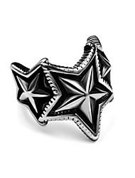 Pentagram Star Index Finger Ring for Mens Women Black Silver Vintage Jewelry Stainless Steel Rock Punk Biker Ring USA Size 7-12#