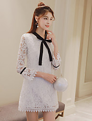 Women's spring 2017 new wave of Korean ladies long sleeve trumpet sleeve lace bow hollow lace dress