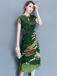 Courte Robe Femme Sortie Chinoiserie,Imprimé Mao Mi-long Manches Courtes Polyester Eté Micro-élastique