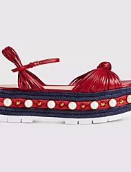 Damen-Sandalen-Lässig-PU-Blockabsatz-Fersenriemen-Rot