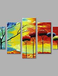 Peint à la main Paysages Abstraits Panoramique Verticale,Moderne Cinq Panneaux Toile Peinture à l'huile Hang-peint For Décoration