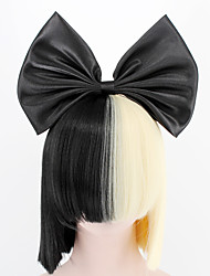 NEW  Big Bow and hairnet Black Half Blonde Sia Styling Party Wigs