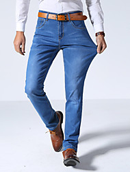Men's Slim Jeans PantsCasual/Daily Simple Solid Mid Rise Button Cotton Polyester Micro-elastic Spring Summer HY-106