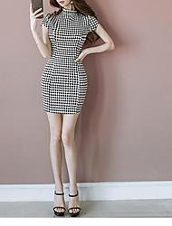 2017 summer new Korean fashion ladies collar drain back diamond lattice Slim package hip dress women