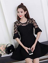 Große Frauen&# 39; s neue Frühjahr Sommer 2017 koreanische Version der fetten Schwester war dünn kurz-sleeved Sommerkleid Rock