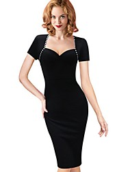 Women's Going out Party Bodycon Dress,Solid Square Neck Asymmetrical Short Sleeve Polyester Summer Mid Rise Micro-elastic Medium