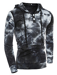 Men's Casual/Daily Going out Hoodie Print Polka Dot Round Neck Micro-elastic Cotton Long Sleeve