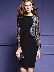 Women's Lace Party Sheath Dress,Solid Round Neck Knee-length Long Sleeve Cotton Spring Summer Mid Rise Micro-elastic Medium