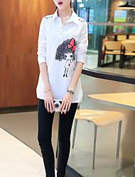 shirt e longas seções de mangas compridas femininas 2016 mulheres coreanas grandes jardas de largura prednisona além de veludo camisa bf