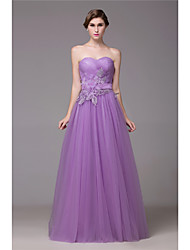 Formal Evening Dress - Open Back Elegant A-line Sweetheart Floor-length Tulle with Crystal Detailing Lace Sash / Ribbon