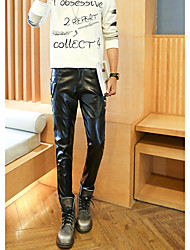 Spring personalized leather pants men Korean Slim pencil pants feet pants tide hairstylist locomotive