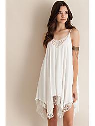 Irregular stitching lace chiffon dress