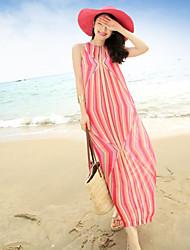 Las mujeres del vestido vestido nuevo bohemia playa balneario de la raya de la gasa de 2017 del verano