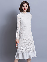 Women's Lace spring temperament Slim skirt autumn ladies loose long-sleeved lace dress