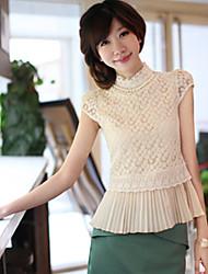 2016 Frühling koreanisches kurzärmeliges bestickte Spitze Rock steht Gesicht gefaltete Taille Chiffonhemd