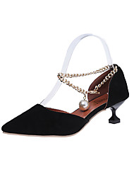 Women's Sandals Club Shoes PU Spring Summer Casual Dress Club Shoes Imitation Pearl Chain Kitten Heel Black Yellow 2in-2 3/4in