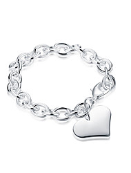 Exquisite Gifts Silver Plated Big Heart Pendant Chain & Link Bracelets Jewellery for Women Accessiories