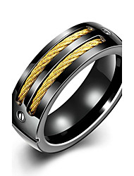 Concise Black Color Titanium Steel Flower Figure Eternity Band Wedding Ring Jewellery for Women Accessiories