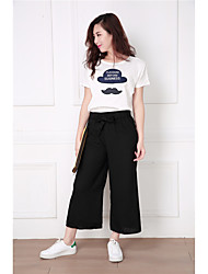 Photos: 2017 spring and summer new Korean simple fashion wide leg pants nine points was thin female loose casual pants